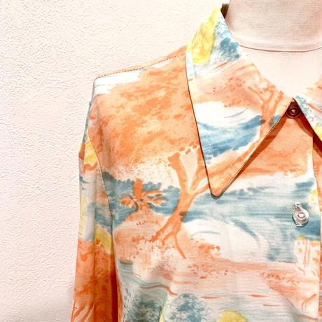 風景プリントシャツ(1970s UK)
