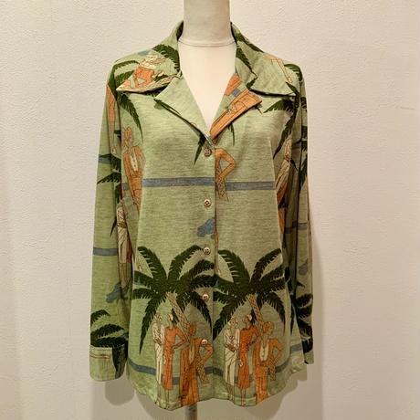 '30s Lady プリント・オープンカラーシャツ(1970s France)