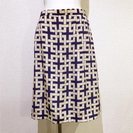 ブロックプリントSILKスカート(1960s France)