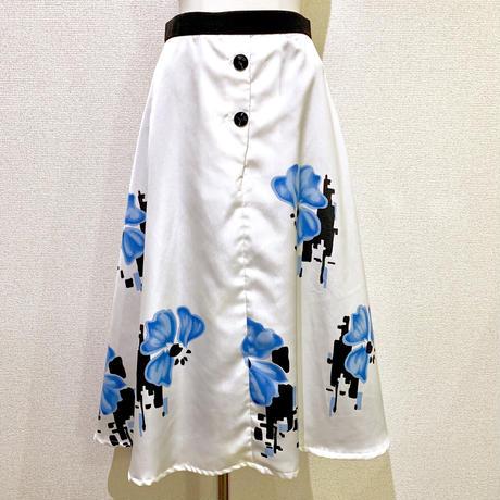 ボタンデザイン・ブルーフラワー・スカート(1970s France デッドストック)