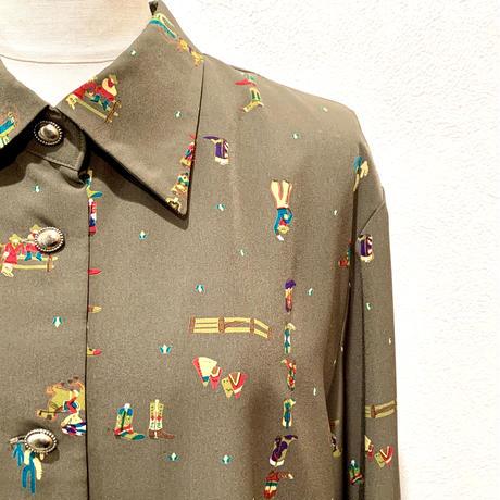 ウエスタンプリントシャツ(1980s Italy)