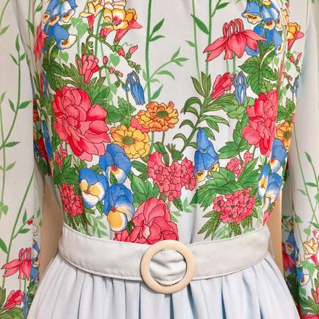ロールネック花柄ワンピース(1970s France)