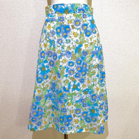 ブルーフラワー・フレアスカート(1970s UK)