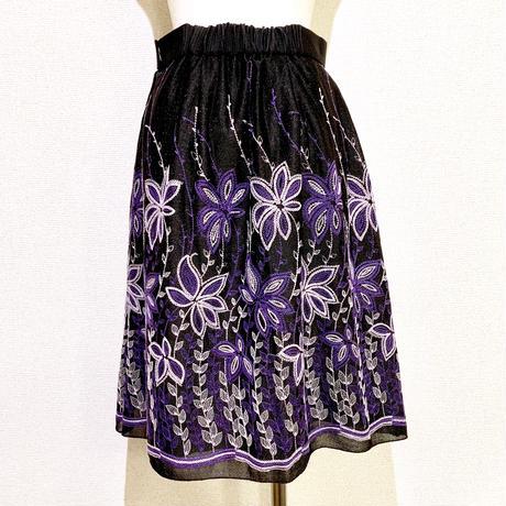 黒ラメxフラワー刺繍スカート(1960s France))