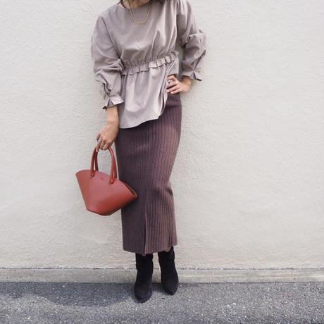 ribbed knit long skirt BROWN
