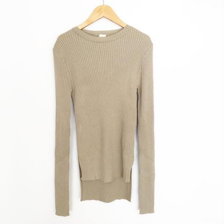 long sleeve rib knit khaki