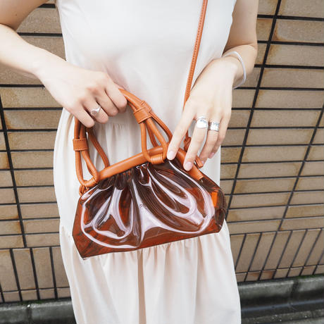 vinyl shoulder bag BROWN