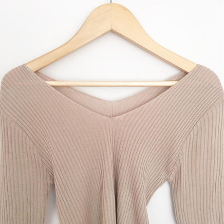 short sleeve ribbed top BEIGE