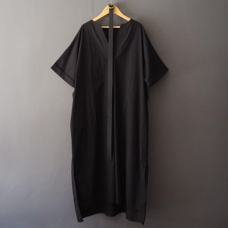 belted volume shirt dress BLACK