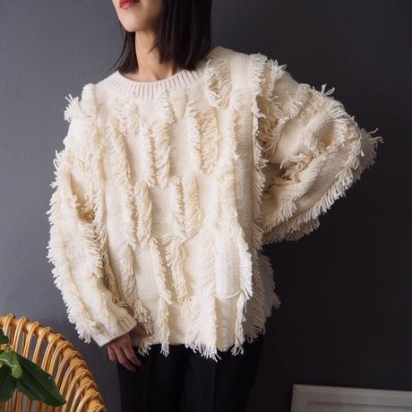 再入荷big fringed sweater IVORY