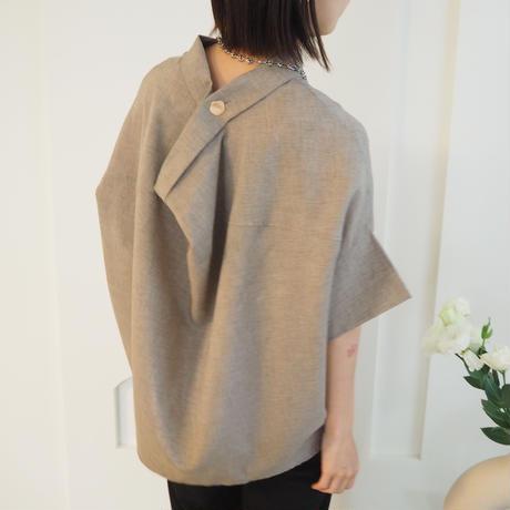 back drape blouse BW.BEIGE