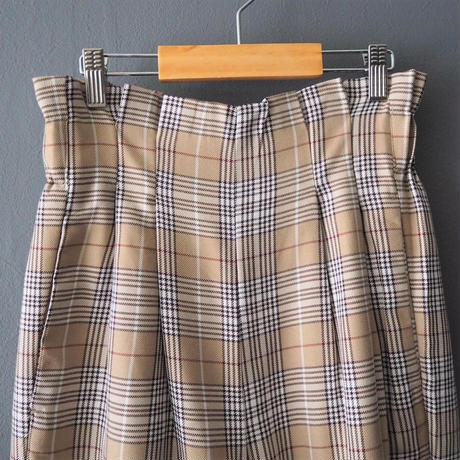 checked high waist  trousers BROWN