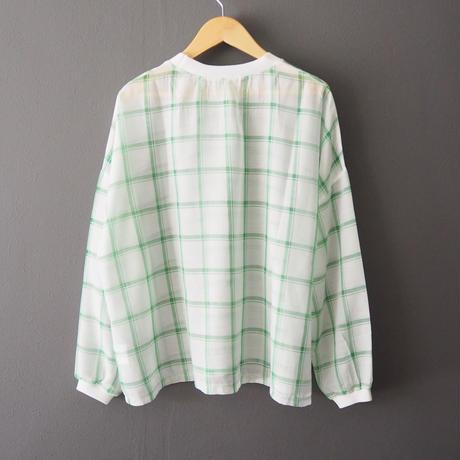 sheer check blouse GREEN