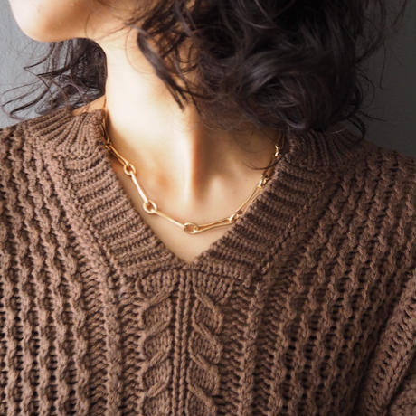 cable knit sweater BROWN