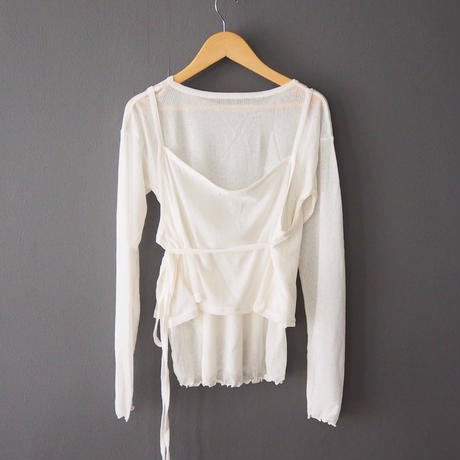 sheer layered top WHITE