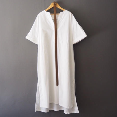 belted volume shirt dress WHITE
