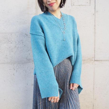 design long  sleeve V neck sweater BLUE