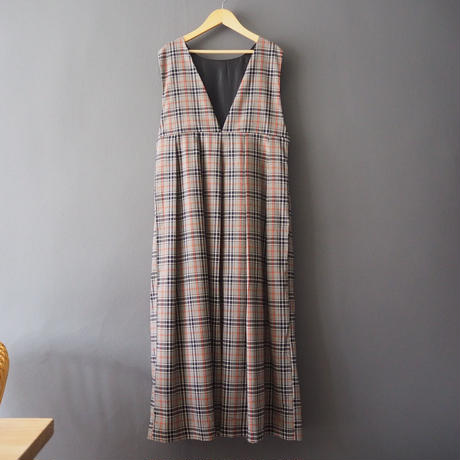 checked V neck long dress