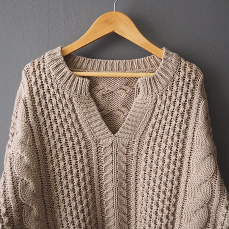 cable knit sweater BEIGE
