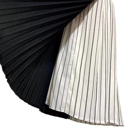 PAGEBOY (ページボーイ) ストライププリーツラップスカート ミモレ丈ロングスカート FREE