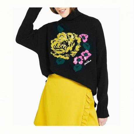 flower turtle neck knit