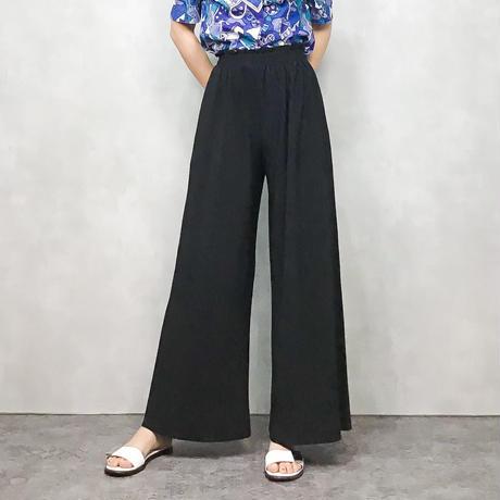 Black pleats wide pants-365