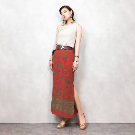 SANCTSILK red long skirt-435-7