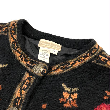 Coldwater Creek flower knit cardigan-807-1