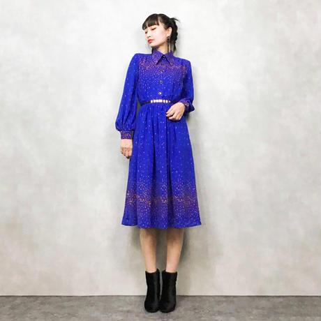 Drop pattern blue dress