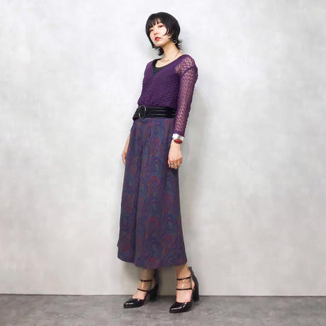 Rosa pattern purple gaucho pants-449-7