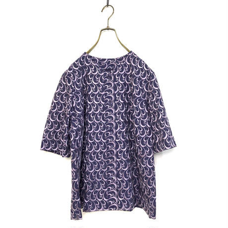 Swirl embroidery purple shirt jacket-400-7