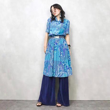 LESLIE FAY  sky blue pattern onepiece-387-7