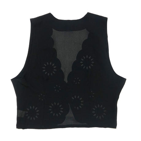 ueRmilion see through black vest-401-7