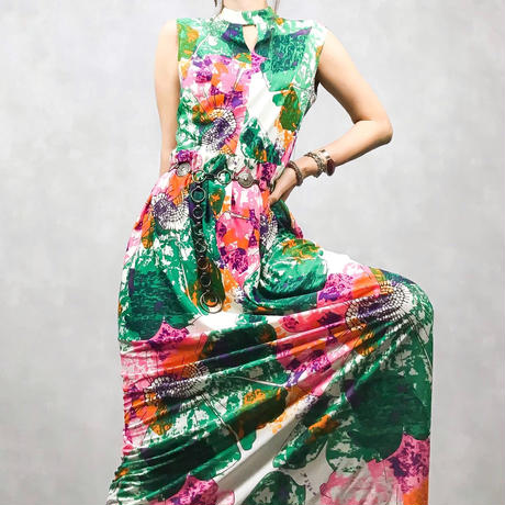 Ring neck tie dye pattern dress-404-7