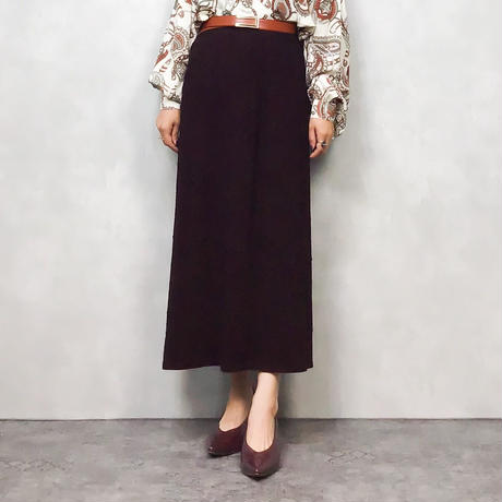 Burgundy rose long skirt-587-10