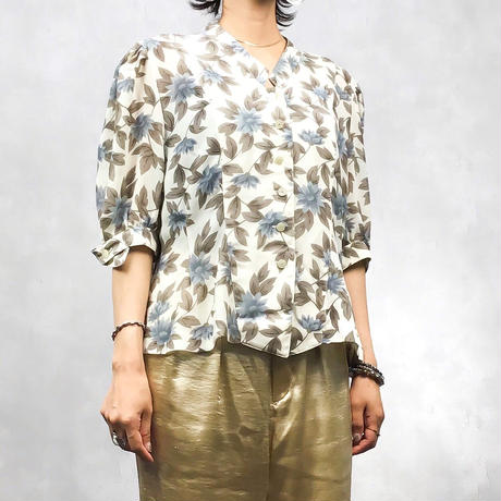 ROBE bluegrey flower shirt-403-7
