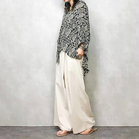 Ethnic pattern big silhouette shirt-373-7