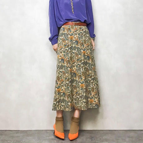 ensuite orange  flower long skirt-455-7