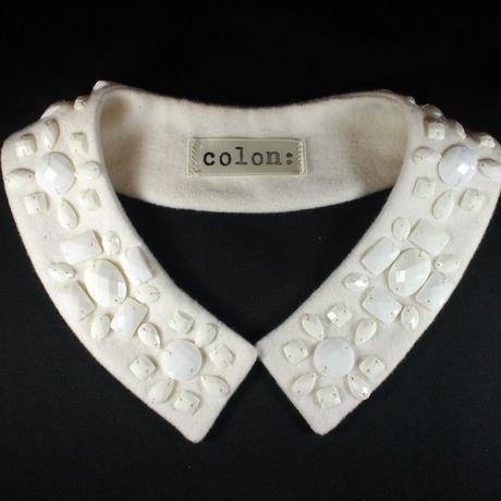 White stone square collar