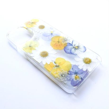 押し花ケース iPhone12/12pro ビオラ-黄色