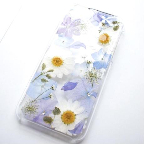 押し花ケース iPhone6/6s/7/8/SE2 あじさい×ノースポール