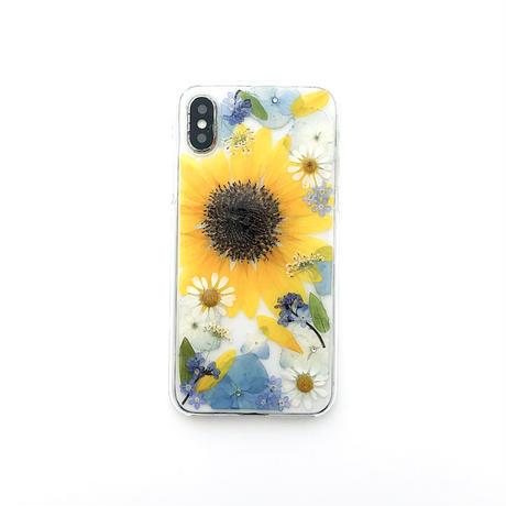 押し花ケース iPhoneX/Xs 向日葵