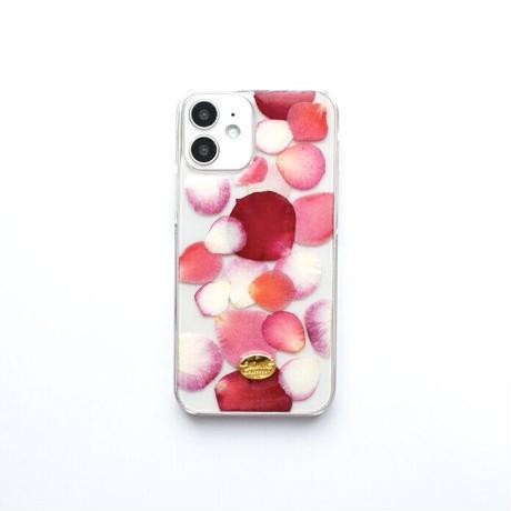 押し花ケース iPhone12 mini  ROSE (PK)
