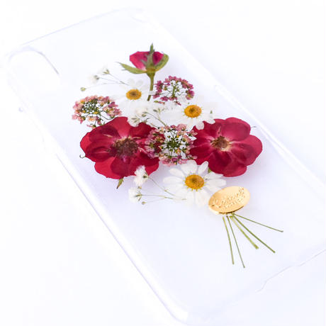 押し花ケース iPhoneX/Xs バラ花束