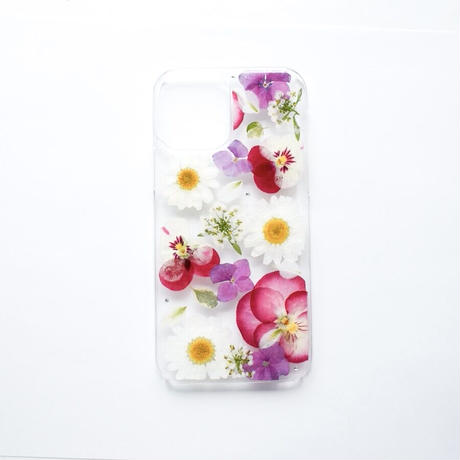 押し花ケース iPhone12/12pro ビオラ×あじさい×ノースポール