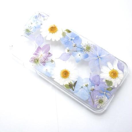 押し花ケース iPhone11/XR あじさい×ノースポール