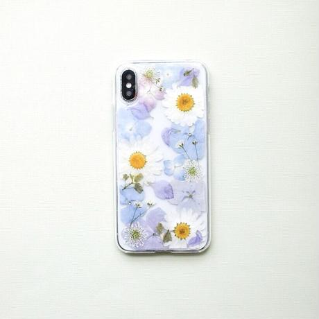 押し花ケース iPhoneX/Xs あじさい×ノースポール