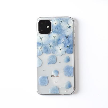 押し花ケース iPhone11 pro あじさい-水色