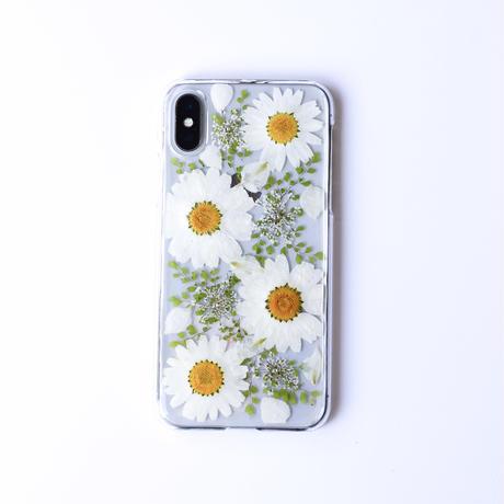 押し花ケース iPhoneX/Xs ノースポール×アジアンタム