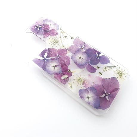 押し花ケース iPhone12/12pro あじさい×レースフラワー